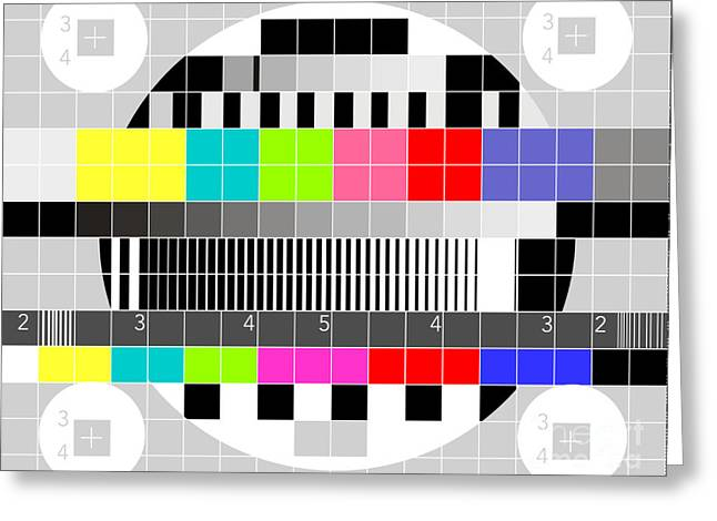 Test Pattern Greeting Cards - TV multicolor signal test pattern Greeting Card by Aloysius Patrimonio
