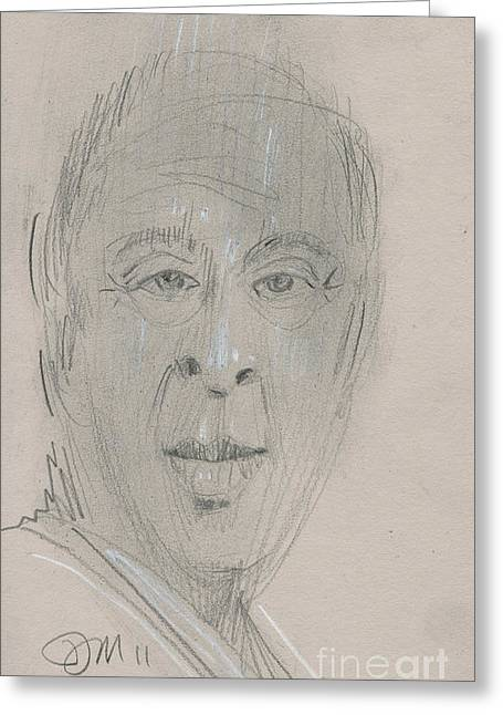 Talking Drawings Greeting Cards - TV Portrait Greeting Card by Donald Maier