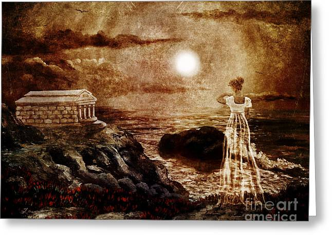 Sepulcher Greeting Cards - Twas Many and Many a Year Ago Greeting Card by Laura Iverson