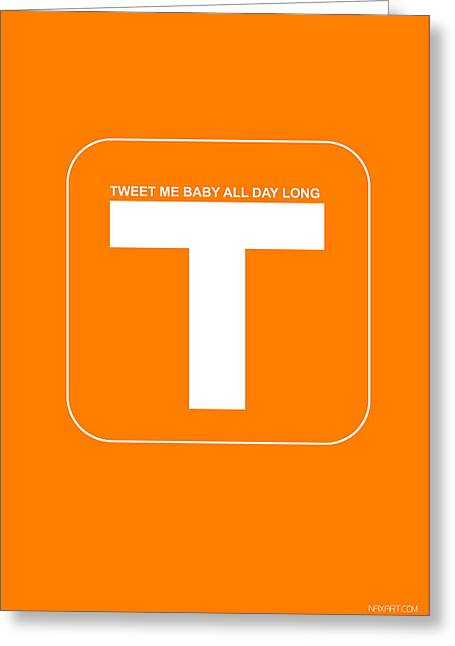 Macintosh Greeting Cards - Tweet me baby all night long Orange Poster Greeting Card by Naxart Studio