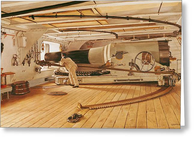 Fire Wood Greeting Cards - Twenty-Seven Pound Cannon on a Battleship Greeting Card by Gustave Bourgain