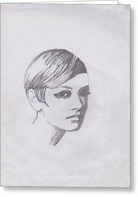 Twiggy Greeting Cards - Twiggy Greeting Card by Marie Hough