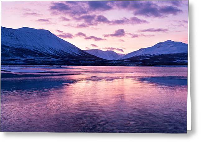 Snowy Evening Greeting Cards - Twilight above a fjord in Norway with beautifully colors Greeting Card by Ulrich Schade
