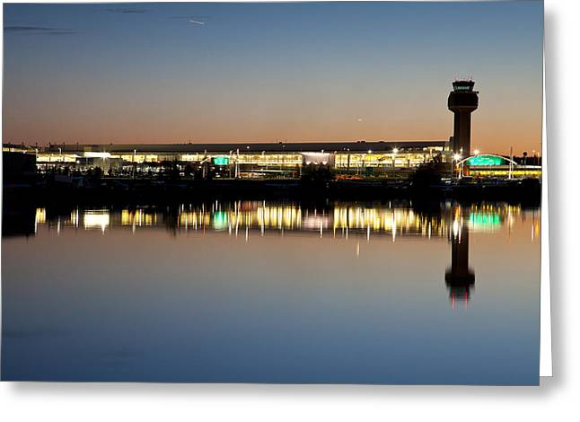 Best Sellers -  - Traffic Control Greeting Cards - Twilight at Anchorage International Airport Greeting Card by Tim Grams
