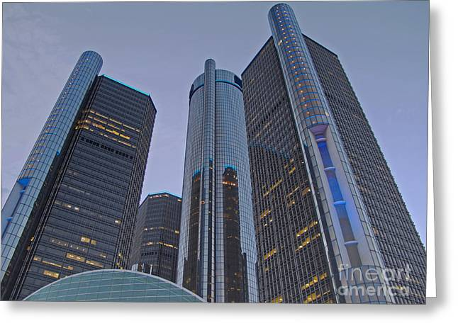Renaissance Center Greeting Cards - Twilight at the RenCen Greeting Card by Ann Horn