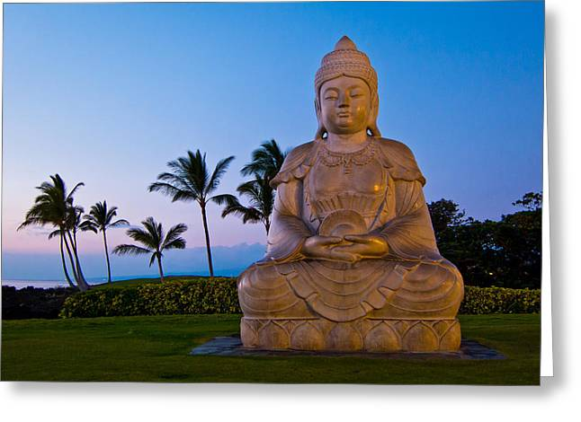 Gloaming Photographs Greeting Cards - Twilight Buddha Greeting Card by Adam Pender