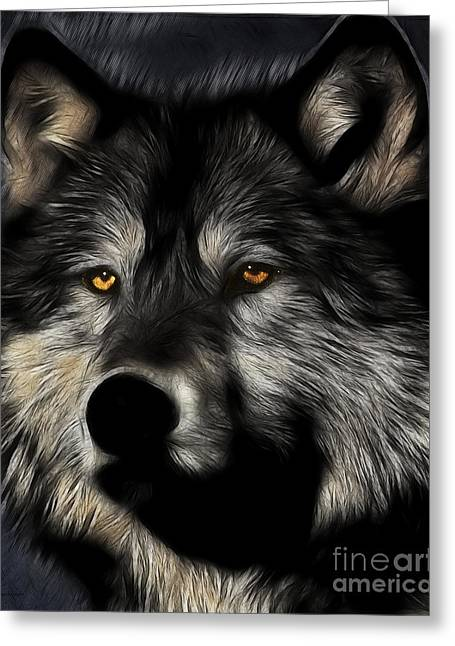 Howl Greeting Cards - Twilight Eyes of The Lone Wolf Greeting Card by Wingsdomain Art and Photography