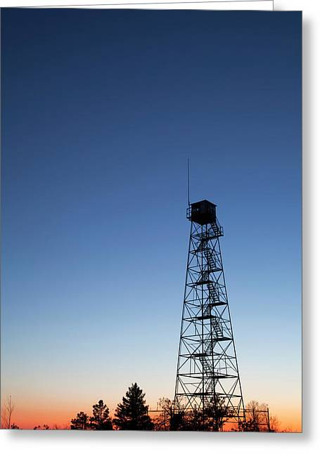 Lookout Tower Greeting Cards - Twilight Fire Tower Greeting Card by John Stephens