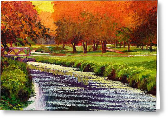 Beautiful Creek Paintings Greeting Cards - Twilight Golf II Greeting Card by David Lloyd Glover