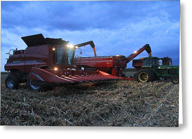 Corn Picker Greeting Cards - Twilight Harvest Greeting Card by Jim Ferrier