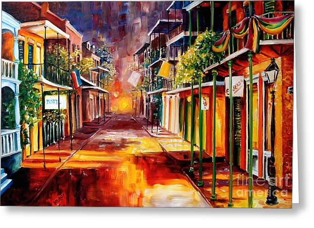 Street Scenes Paintings Greeting Cards - Twilight in New Orleans Greeting Card by Diane Millsap