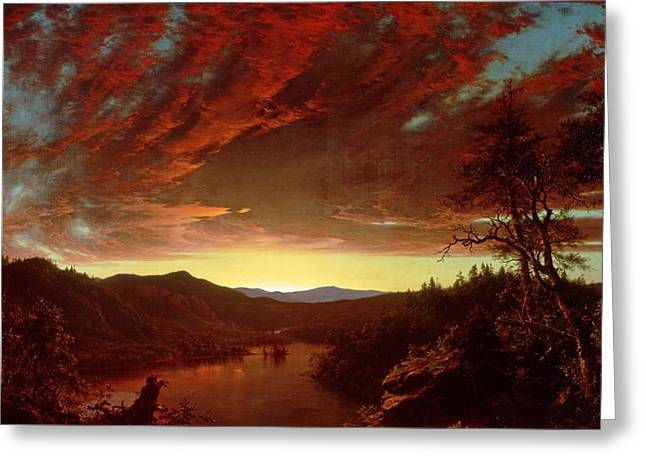 Wilderness Greeting Cards - Twilight in the Wilderness Greeting Card by Frederic Edwin Church