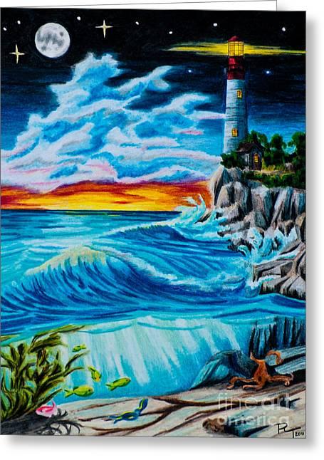 Moon Beach Drawings Greeting Cards - Twilight Light Greeting Card by Robert Thornton