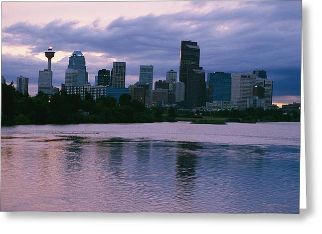 Twilight On The Bow River And Calgary Greeting Card by Michael S. Lewis