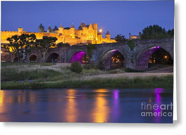 Carcassonne Greeting Cards - Twilight over Carcassonne Greeting Card by Brian Jannsen
