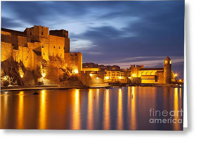 Languedoc Greeting Cards - Twilight over Collioure Greeting Card by Brian Jannsen
