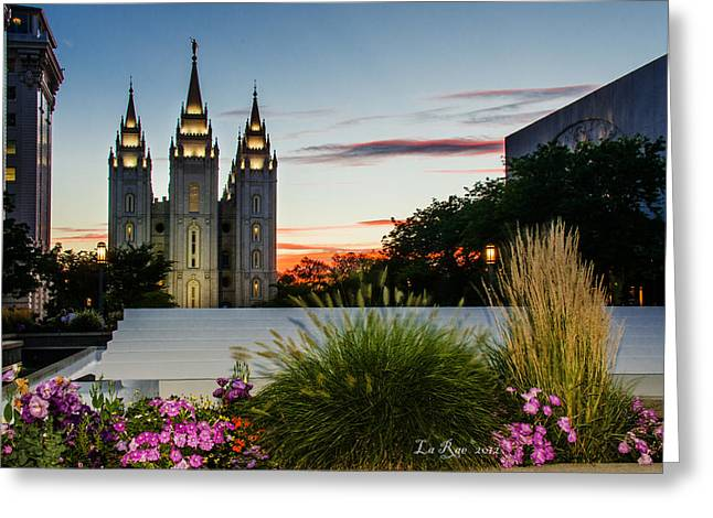 Slc Greeting Cards - Twilight SLC Temple Grass Greeting Card by La Rae  Roberts