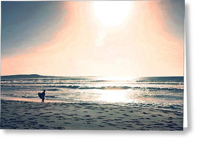 Santa Cruz Greeting Cards - Twilight Surf Greeting Card by Lisa McKinney