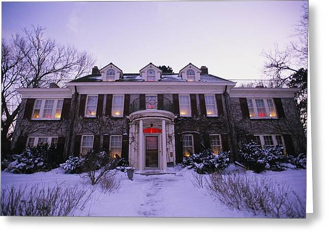 American Colonial Architecture Greeting Cards - Twilight View Of A Georgian-style House Greeting Card by Joel Sartore
