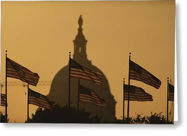 American National Flag Greeting Cards - Twilight View Of American Flags Flying Greeting Card by Karen Kasmauski