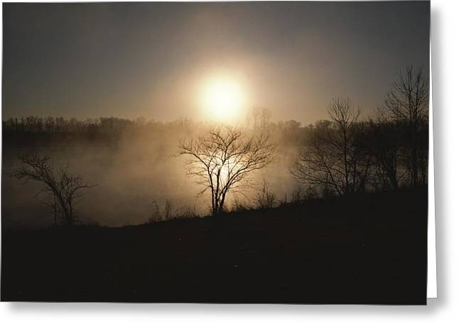 Twilight View Of Fog Over The Tennessee Greeting Card by Sam Abell