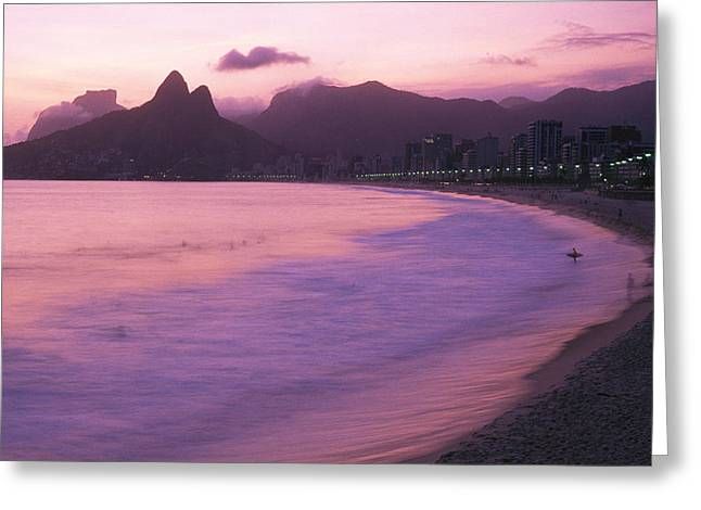 Ipanema Beach Greeting Cards - Twilight View Of Ipanema Beach And Two Greeting Card by Michael Melford