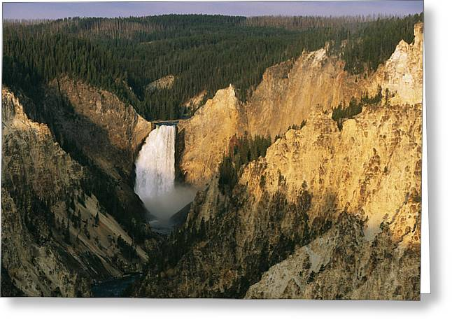 Fall Scenes Greeting Cards - Twilight View Of Lower Yellowstone Greeting Card by Michael S. Lewis