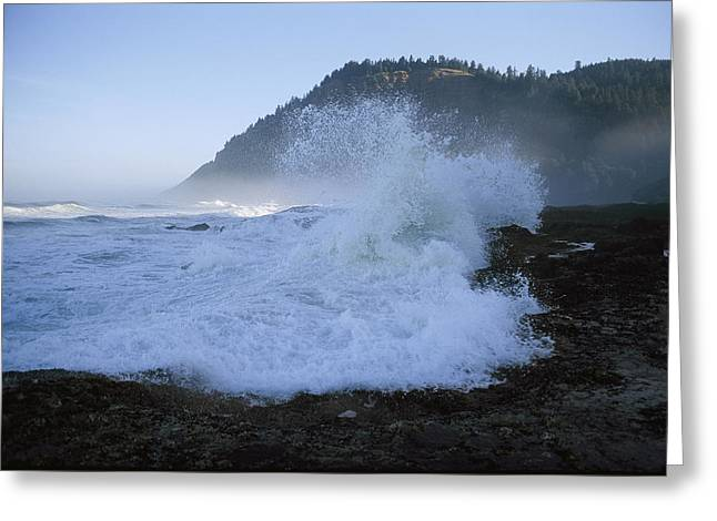 Yachats Greeting Cards - Twilight View Of Waves Crashing Greeting Card by Phil Schermeister