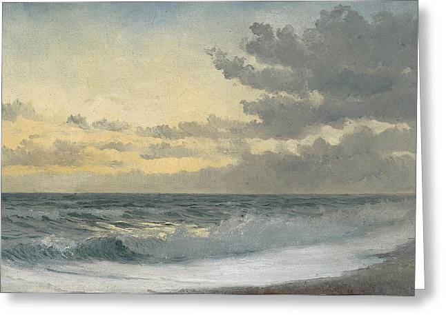 Beach View Greeting Cards - Twilight Greeting Card by William Pye