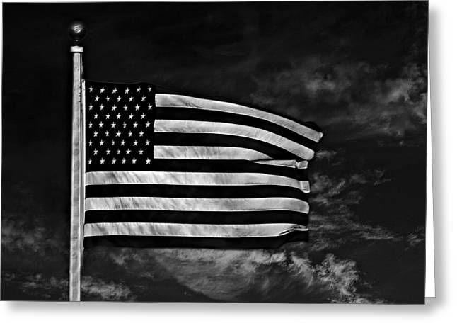 The Star-spangled Banner Mixed Media Greeting Cards - Twilights Last Gleaming BW Greeting Card by David Dehner