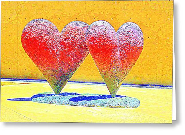 Intertwined Greeting Cards - Twin 6 Hearts Greeting Card by Randall Weidner