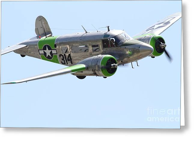 Military Airplanes Greeting Cards - Twin Beech C-45 Expeditor . 7d15394 Greeting Card by Wingsdomain Art and Photography