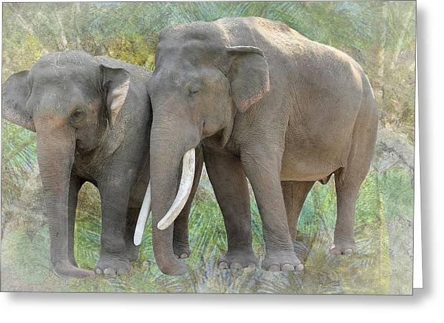 Power Plants Greeting Cards - Twin Elephants Greeting Card by Rudy Umans