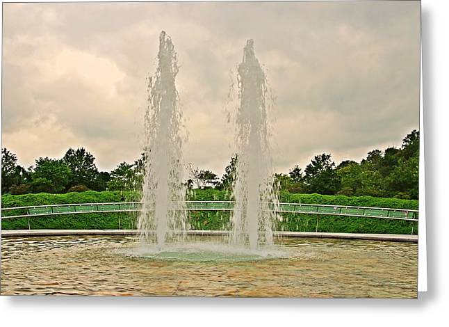 Twin Fountains - Garden Of Reflection Greeting Card by Angie Tirado