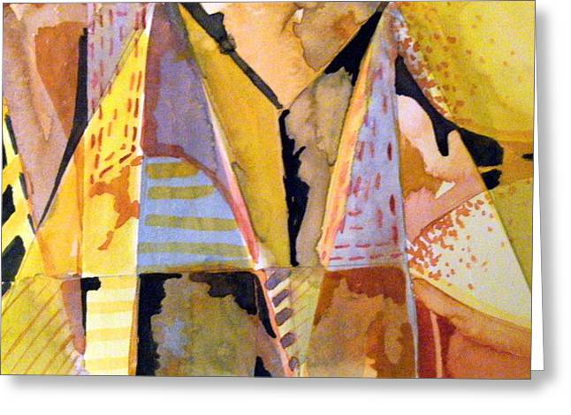 Pyramids Greeting Cards Greeting Cards - Twin Golden Pyramids Greeting Card by Mindy Newman