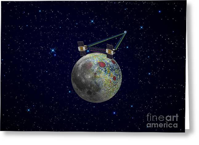 Grail Greeting Cards - Twin Grail Spacecraft Map The Moons Greeting Card by Stocktrek Images