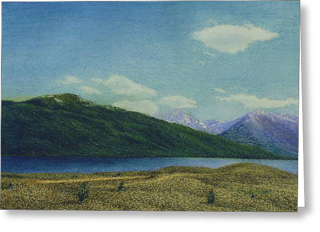 Desert Lake Pastels Greeting Cards - Twin Lakes Greeting Card by Norm Holmberg