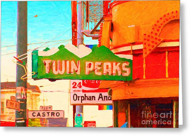 Sf Peaks Greeting Cards - Twin Peaks Gay Bar in San Francisco . Painterly Style Greeting Card by Wingsdomain Art and Photography