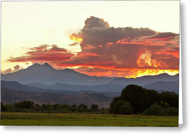 Colorful Photos Greeting Cards - Twin Peaks Longs Meeker August Sunset 3 Greeting Card by James BO  Insogna