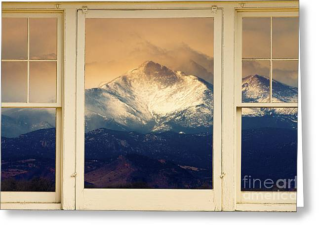 Colorful Photos Greeting Cards - Twin Peaks Meek and Longs Peak Window View Greeting Card by James BO  Insogna