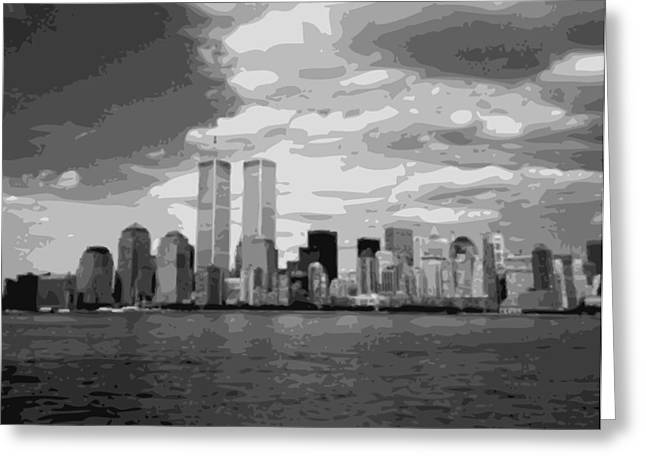 The Capital Of The World Greeting Cards - Twin Towers BW10 Greeting Card by Scott Kelley