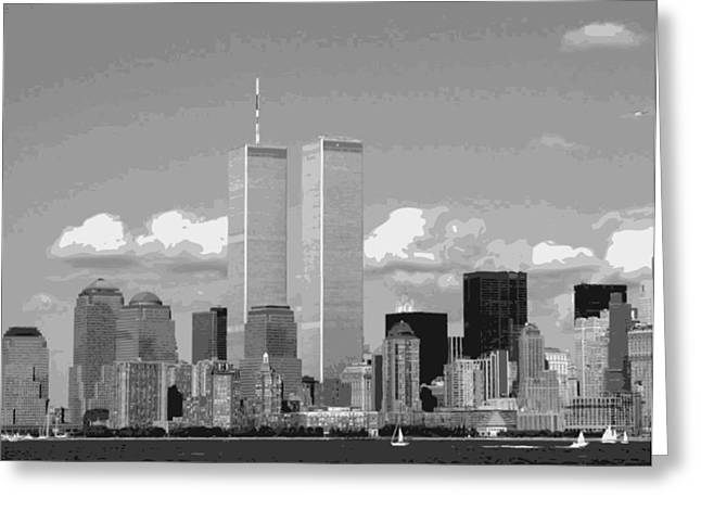 The Capital Of The World Greeting Cards - Twin Towers BW12 Greeting Card by Scott Kelley