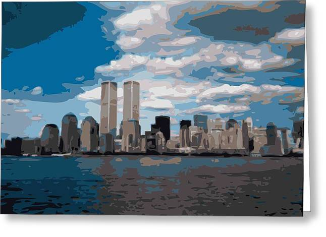 The Capital Of The World Greeting Cards - Twin Towers Color 16 Greeting Card by Scott Kelley