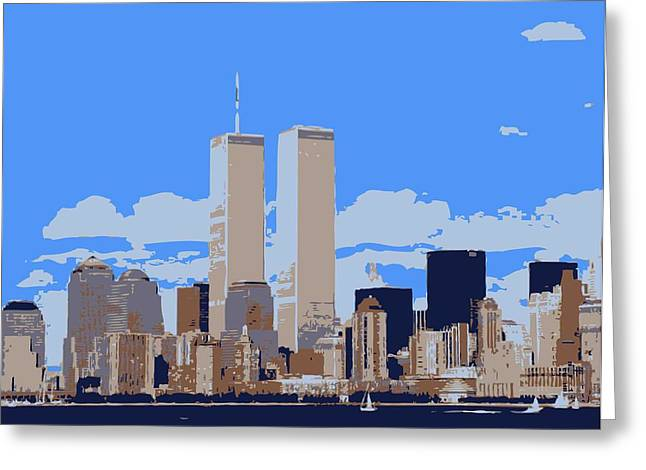 The Capital Of The World Greeting Cards - Twin Towers Color 6 Greeting Card by Scott Kelley