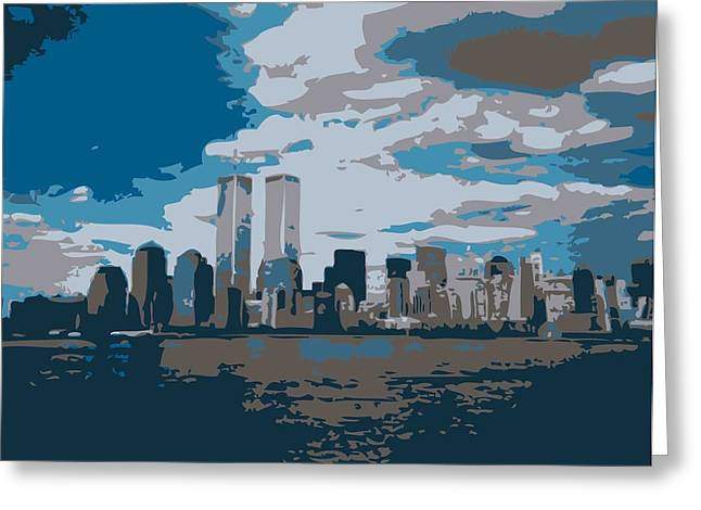 The Capital Of The World Greeting Cards - Twin Towers Color 7 Greeting Card by Scott Kelley