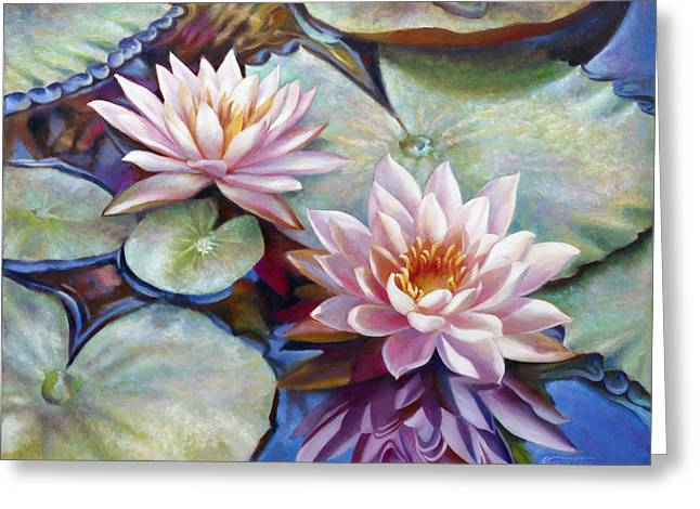 Gallery Wrap Paintings Greeting Cards - Twin Water Lilies and Reflection Greeting Card by Nancy Tilles