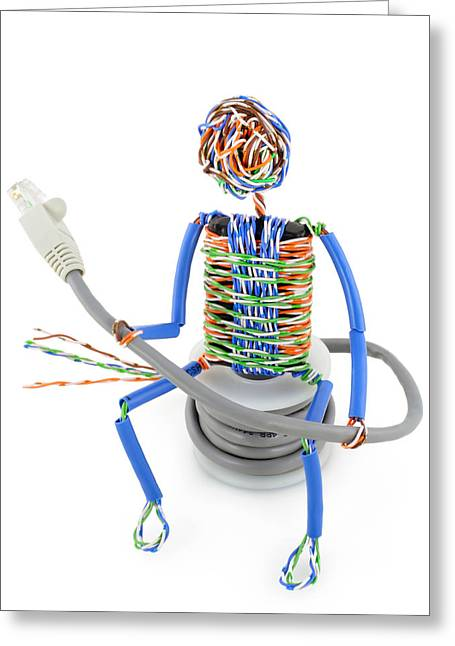 Twisted Man From A Computer Cable Greeting Card by Aleksandr Volkov