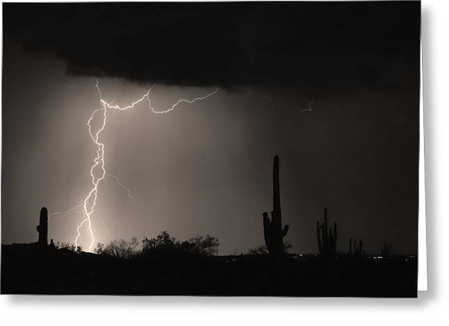 Lightning Photography Photographs Greeting Cards - Twisted Storm - Sepia Print Greeting Card by James BO  Insogna