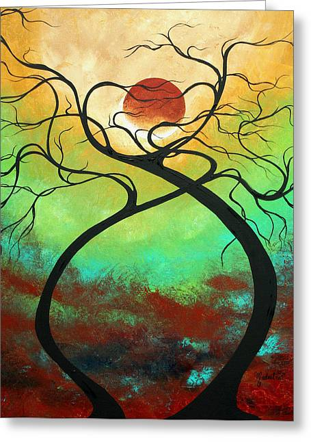 Turquoise Abstract Art Greeting Cards - Twisting Love II Original Painting by MADART Greeting Card by Megan Duncanson