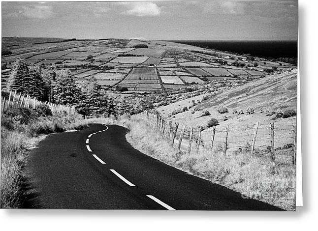 Mountain Road Greeting Cards - Twisty Country Mountain Road Through Glenaan Scenic Route Glenaan County Antrim  Greeting Card by Joe Fox